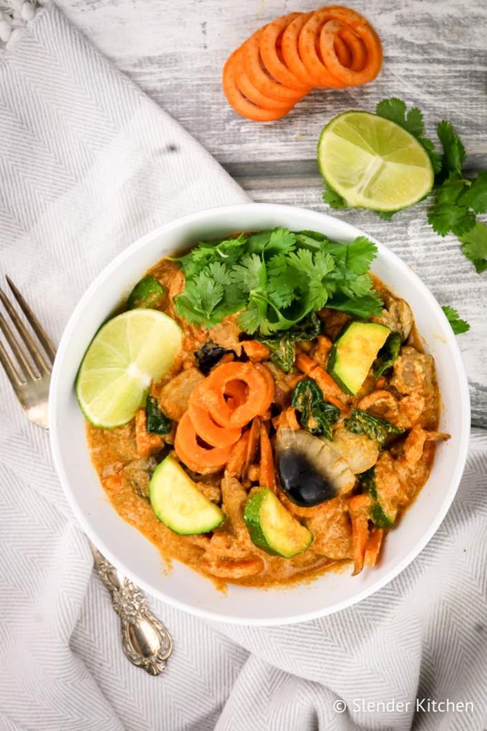 Curry Sweet Potato Noodles with fresh lime juice and cilantro.