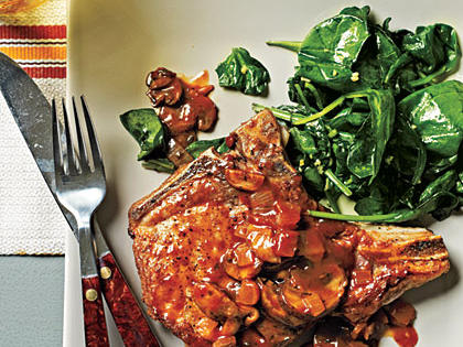 Pork Chops with Grits and Red-Eye Gravy
