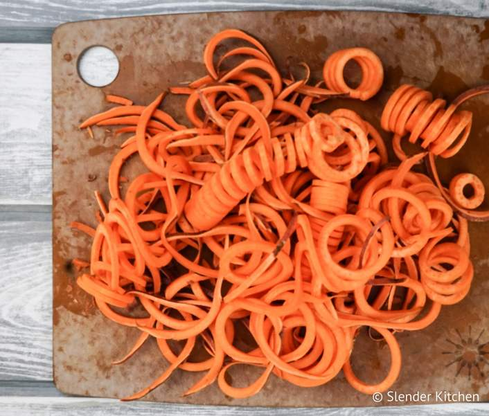 Curry Sweet Potato Noodle Bowls with freshly spiralized sweet potato noodles.