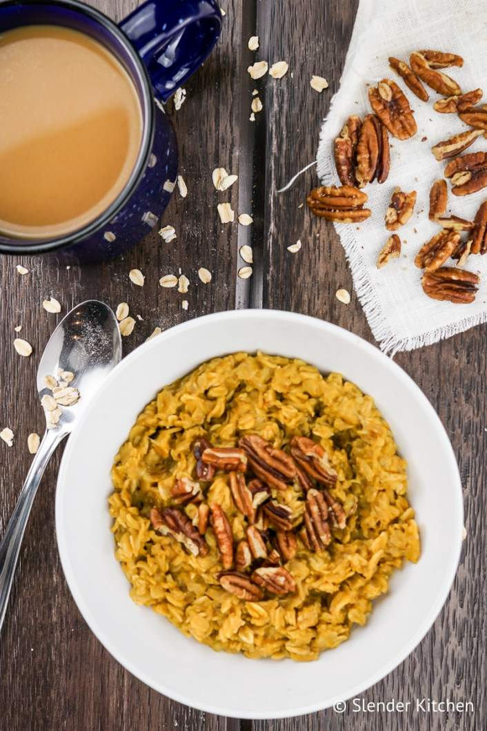 Pumpkin Pie Oatmeal served with coffee and pecans.