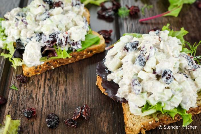 Cranberry Tuna Salad served on whole wheat bread with lettuce.