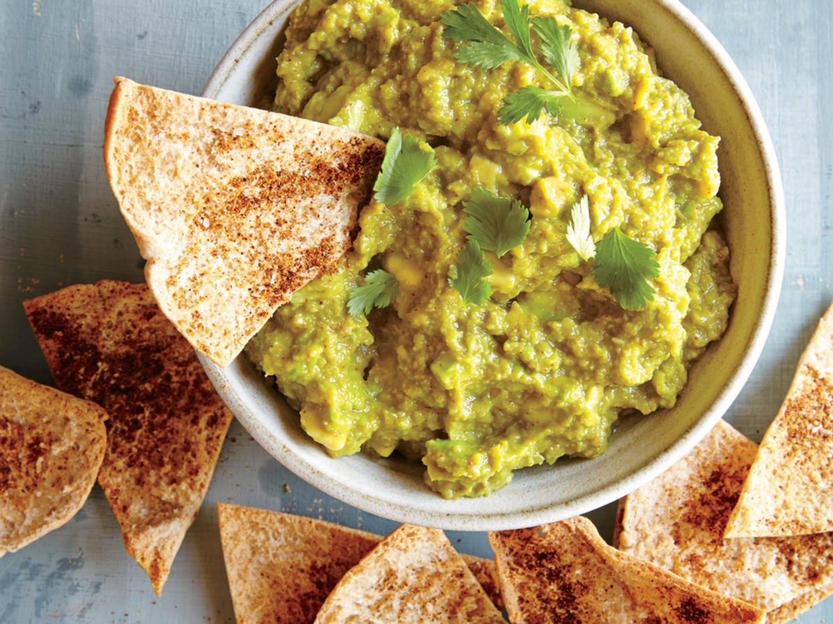 Sweet Pea and Avocado Dip with Baked Pita Chips
