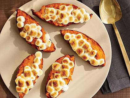 Twice-Baked Sweet Potatoes with Toasted Marshmallows