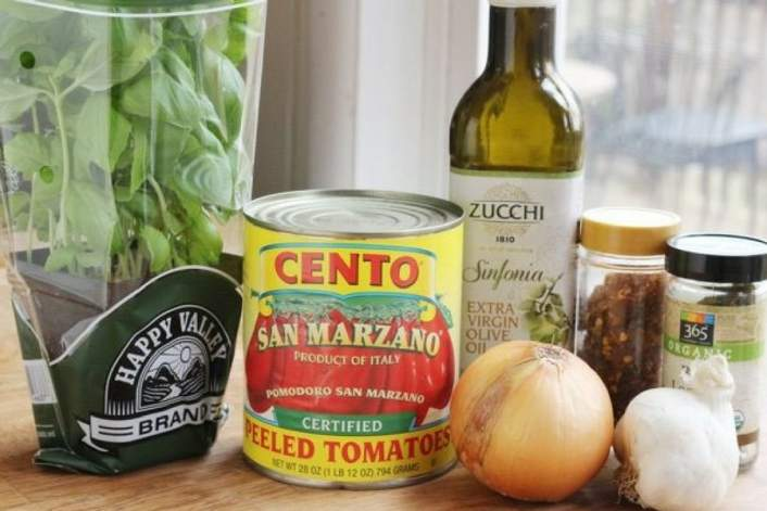 Twenty Minute Homemade Marinara Sauce and all the ingredients to make it.
