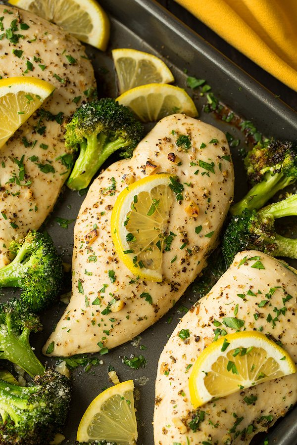 Lemon chicken with broccoli and parmesan cheese.
