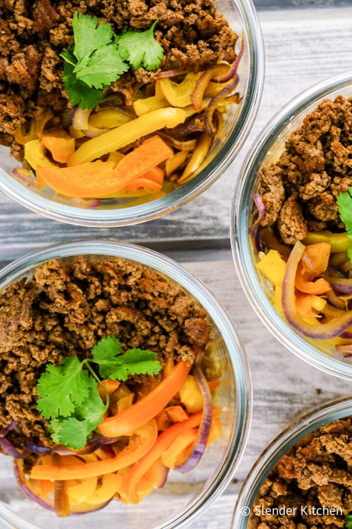 Taco Meal Prep Bowls with peppers and onions.