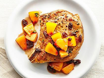 Pork Chops with Agrodolce Peaches