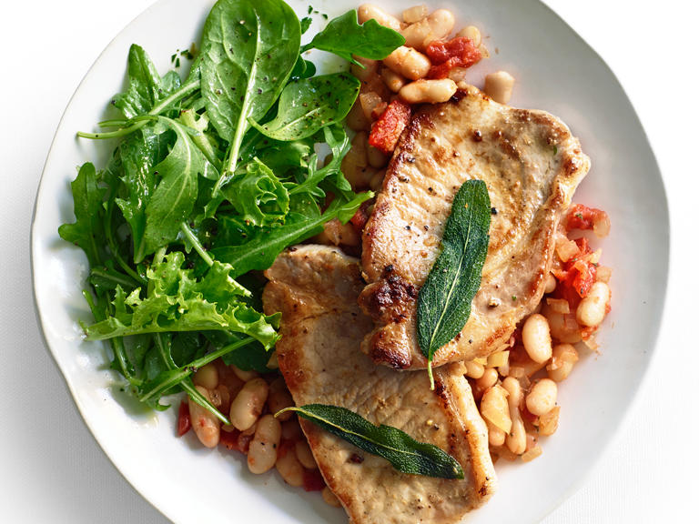 Pork Scaloppine with White Beans and Fried Sage