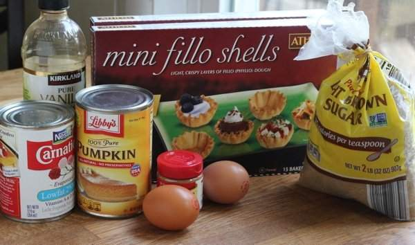 Mini Pumpkin Pies and all the ingredients to make them.