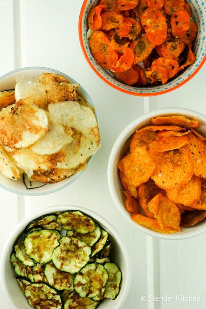 Microwave Vegetable Chips with carrots, zucchini, potato, and sweet potato.
