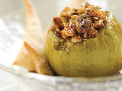 Pomegranate-Cider Baked Apples With Sugared Piecrust Strips