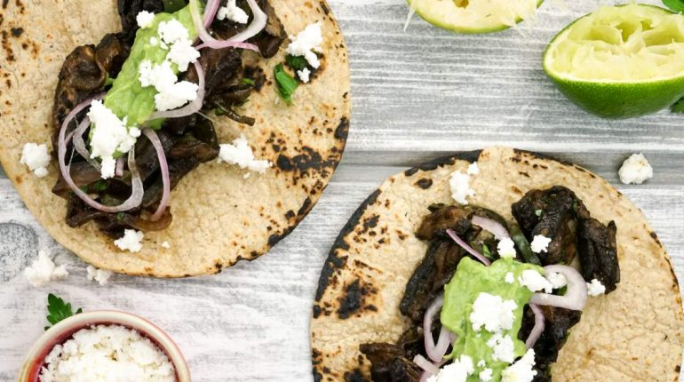 Portobello and Poblano Tacos with Avocado Herb Sal...