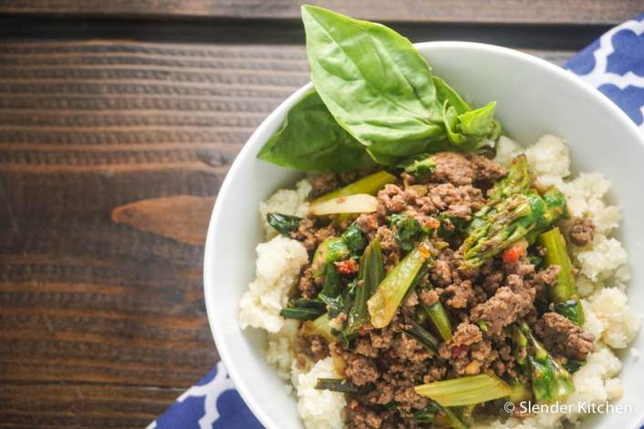Thai Basil Ground Beef on a wooden board for dinner Wednesday on the WeW Meal Plan.