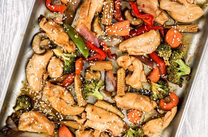 Healthy Sheet Pan Asian Chicken Stir-Fry