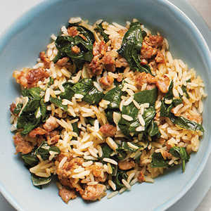 Sausage-Spinach Rice Bowl