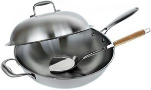 Stainless Steel Wok Pan with Lid – 13 inch Stir Fr…