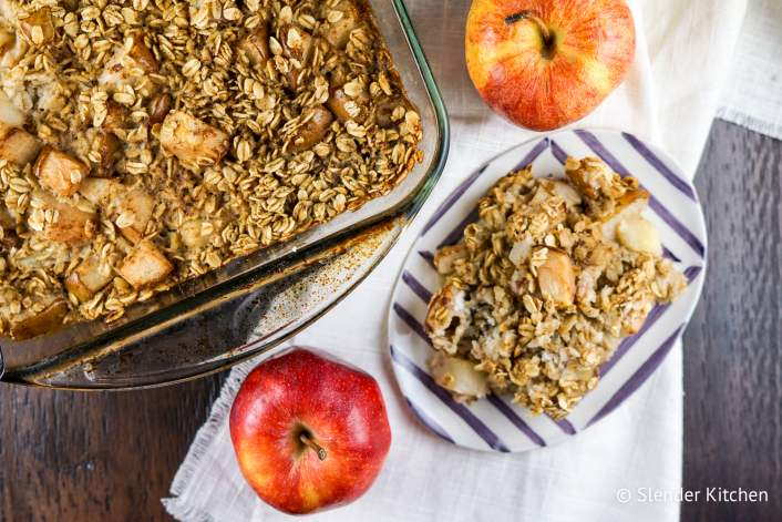 An apple cinnamon baked oatmeal make