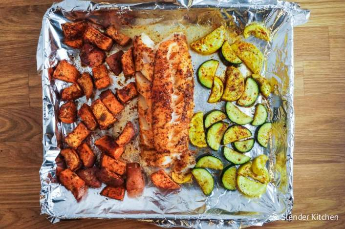 An easy and healthy sheet pan recipe with cod, sweet potatoes, and veggies.