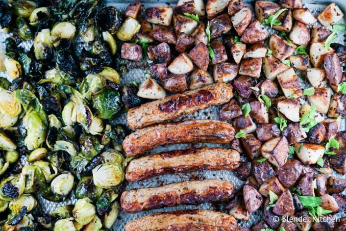 An easy sheet pan recipe with sausage, potatoes, and brussels sprouts.