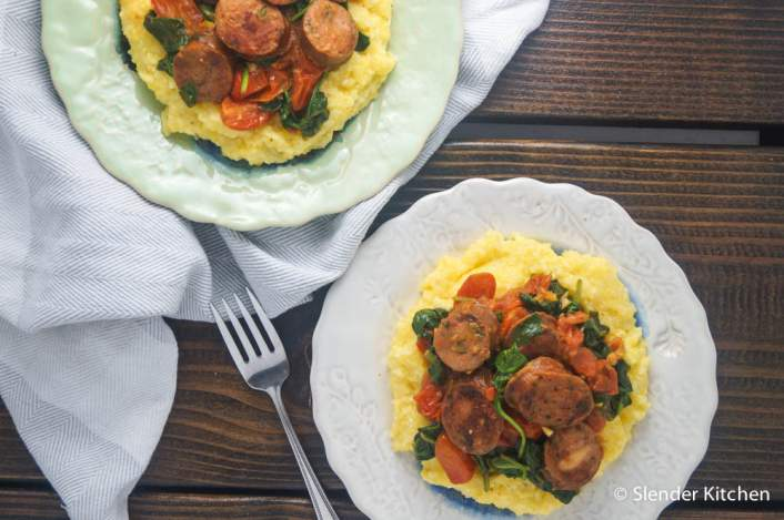 Sausage, Spinach, and Polenta Bowls for dinner on Wednesday in the weekly meal plan,