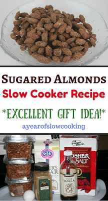 Making sugared almonds in the crockpot slow cooker is a fun and easy gift idea for everyone on your holiday list. Store in mason jars or cute cellophane baggies. Great activity to involve the kids in!