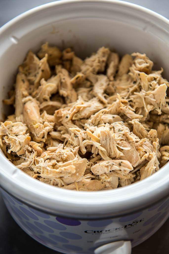 Slow Cooker Cilantro Lime Chicken shredded in the slow cooker