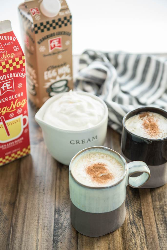 Enjoy a tasty treat this holiday season! Slow Cooker Eggnog Lattes are perfect for entertaining or a cozy evening by the fire!