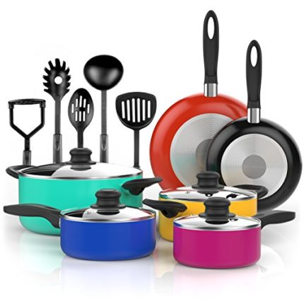 Vremi 15 Piece Nonstick Cookware Set - Colored Kit...
