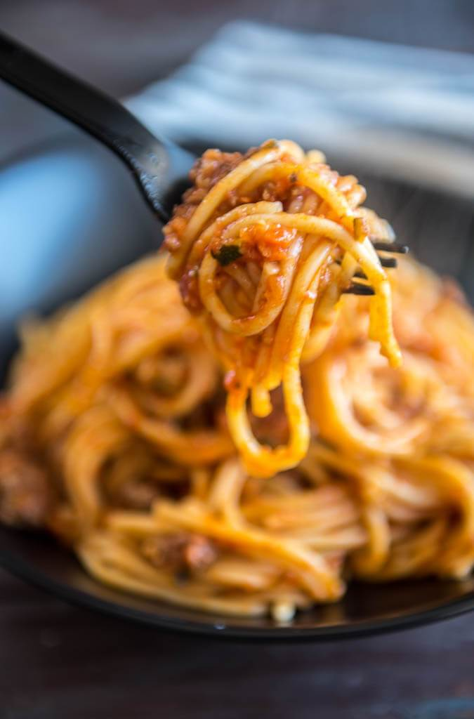 A forkful of Veggie Packed Instant Pot Spaghetti with Meat Sauce