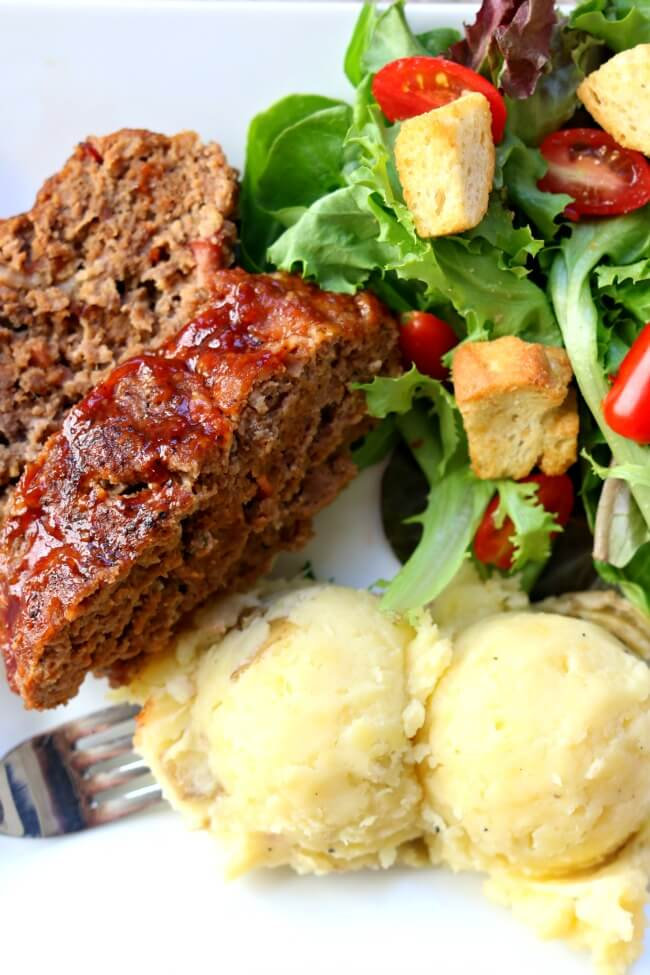 Instant Pot Bacon BBQ Meatloaf and Mashed Potatoes