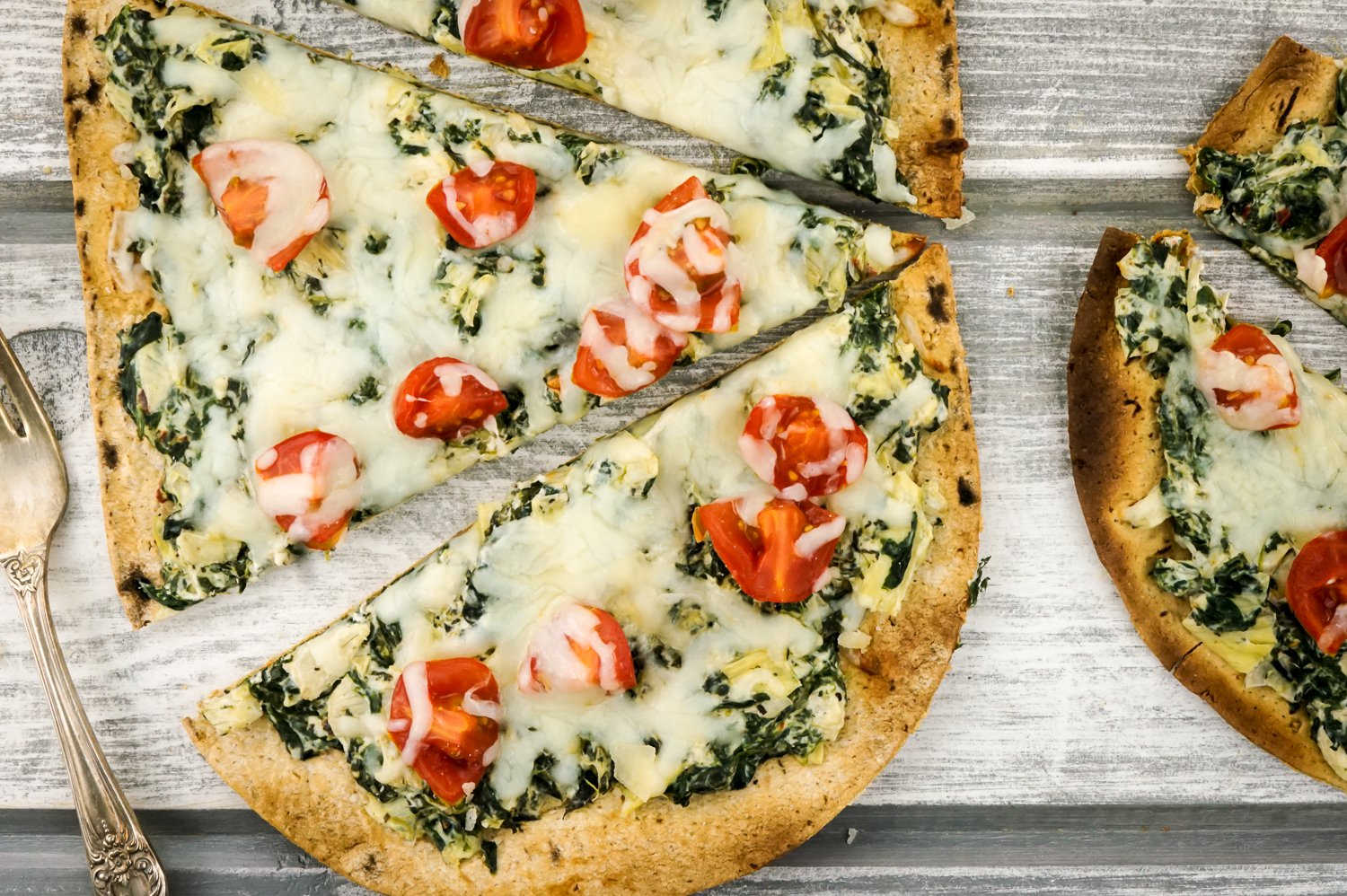 Weight Watchers Spinach and Artichoke Pizza for a healthy football appetizer.