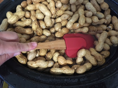 Raw Peanuts float in water while cooking in the crockpot slow cooker