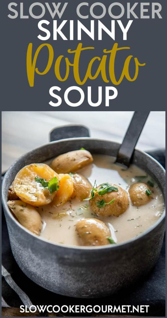 It is totally possible to indulge and eat lighter at the same time when you make this delicious Slow Cooker Skinny Potato Soup! It's quick and simple to make and only tastes rich and creamy! Read my tips to lighten up your next comfort food meal!