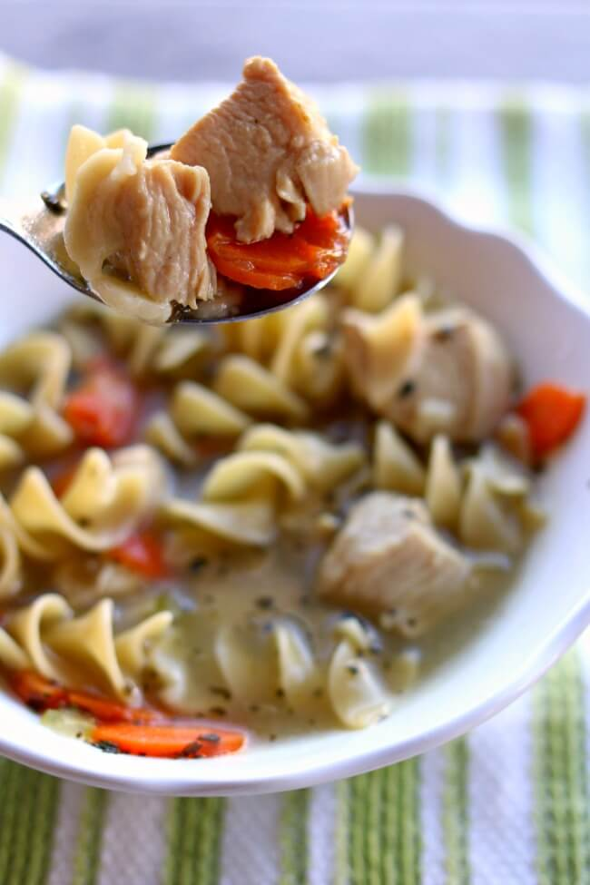 This recipe forInstant Pot Chicken Noodle Soup is fast and easy to make. No need to cook the chicken ahead of time, just add it straight to your pressure cooker along with the veggies and broth. We love making this recipe on a cold day or when we have a sick one in the house.