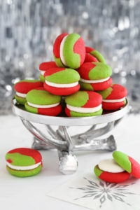 Green & Red Cream Cheese Sugar Cookie Sandwiches