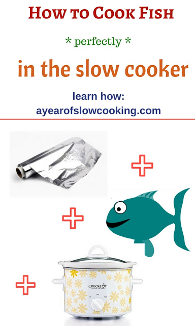 Make parchment paper or aluminum foil packets and cook fish inside your slow cooker with no water needed. Layer your fish, veggies, seasonings, and sauce into the packet and cook on High for 2 hours. Perfect, flaky fish with no fish smell at all! I love my crockpot!