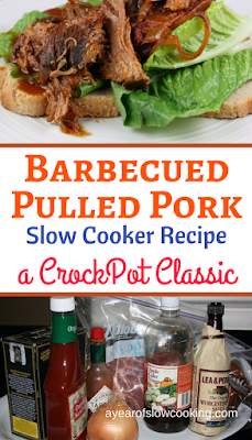 Homemade from scratch version of barbecue pulled pork in the crockpot slow cooker. Use a butt or shoulder roast -- this is a naturally gluten free recipe from ayearofslowcooking.com