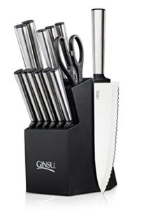 Ginsu Koden Series 14-Piece Stainless Steel Serrated Knife Set – Cutlery Set with Stainless Steel Kitchen Knives in a Black Block, 05253DS