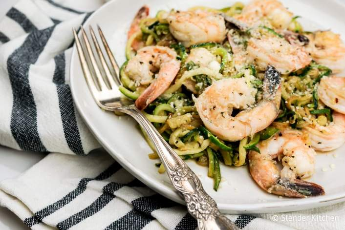 Pesto Shrimp with Zucchini Noodles on a white plate with fork.