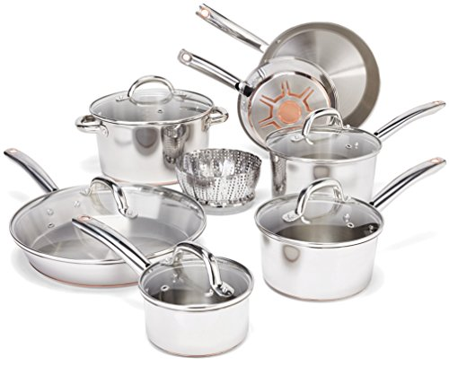 T-fal Stainless Steel Cookware Set, Pots and Pans with Copper-Bottom, 13-Piece, Silver, Model C836SD