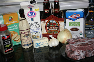 these are the ingredients used to make crockpot slow cooker french dip sandwiches -- all homemade from scratch gluten free recipe