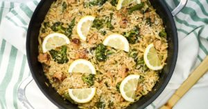 Lemon Orzo with Broccoli and Chicken Sausage