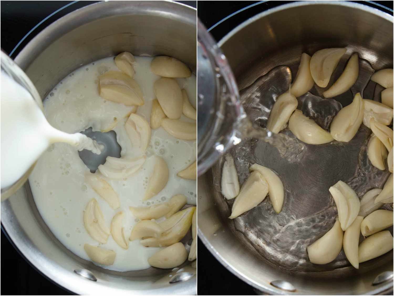 Collage of two photos, showing milk and water, respectively, being added to a pot of garlic cloves