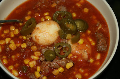 Cowboy stew is a fun, tangy recipe that is super delicious and easy to make. This recipe used canned potatoes -- which to my kids look like dinosaur eggs! You can make it super spicy by adding lots of jalapeños, or you can tone it down.