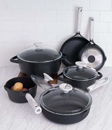 Fleischer & Wolf Athens Series cookware set(10-Piece) - Non-stick Coating in Black Color- Oven and Grill Safe Kitchen Pots and Pans Set--Perfect Chris...