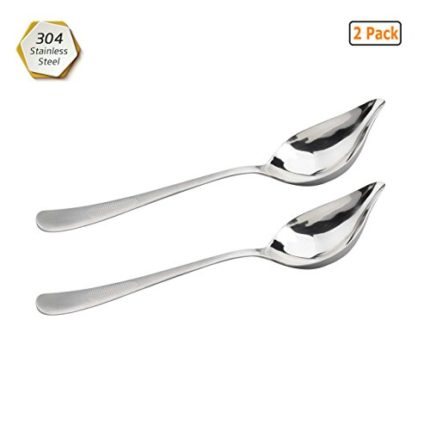 GuDoQi 2 Pack Saucier Spoon 304 Stainless Steel Wa...