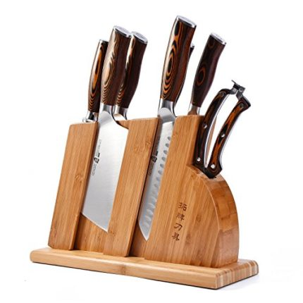 TUO Cutlery Fiery Series Kitchen Block Knife Set 8 PCS - Cleaver, Chopper, Utility, Paring, Santoku, Honing Steel, Shears and Knife Block -Forged HC G...