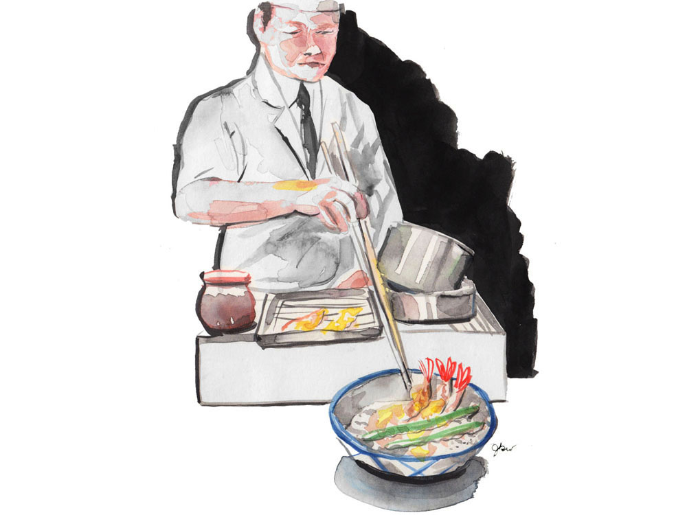 Illustration of a chef preparing a bowl of shrimp and green bean tempura with long cooking chopsticks
