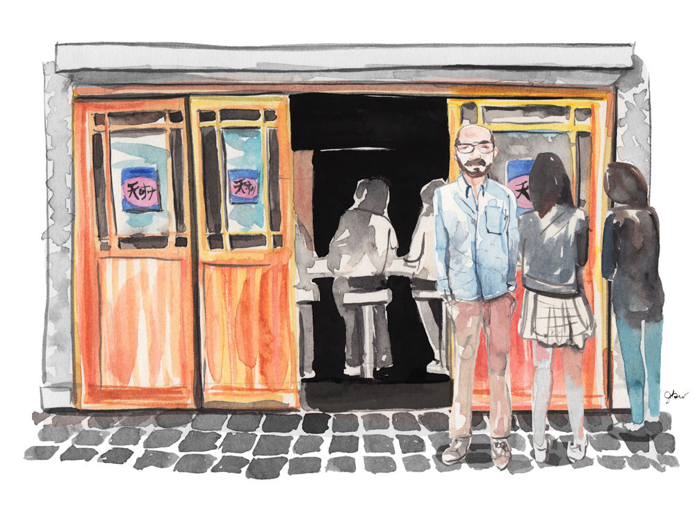 Illustration of the exterior of a restaurant with eaters visible inside, people looking in the windows, and one facing the viewer