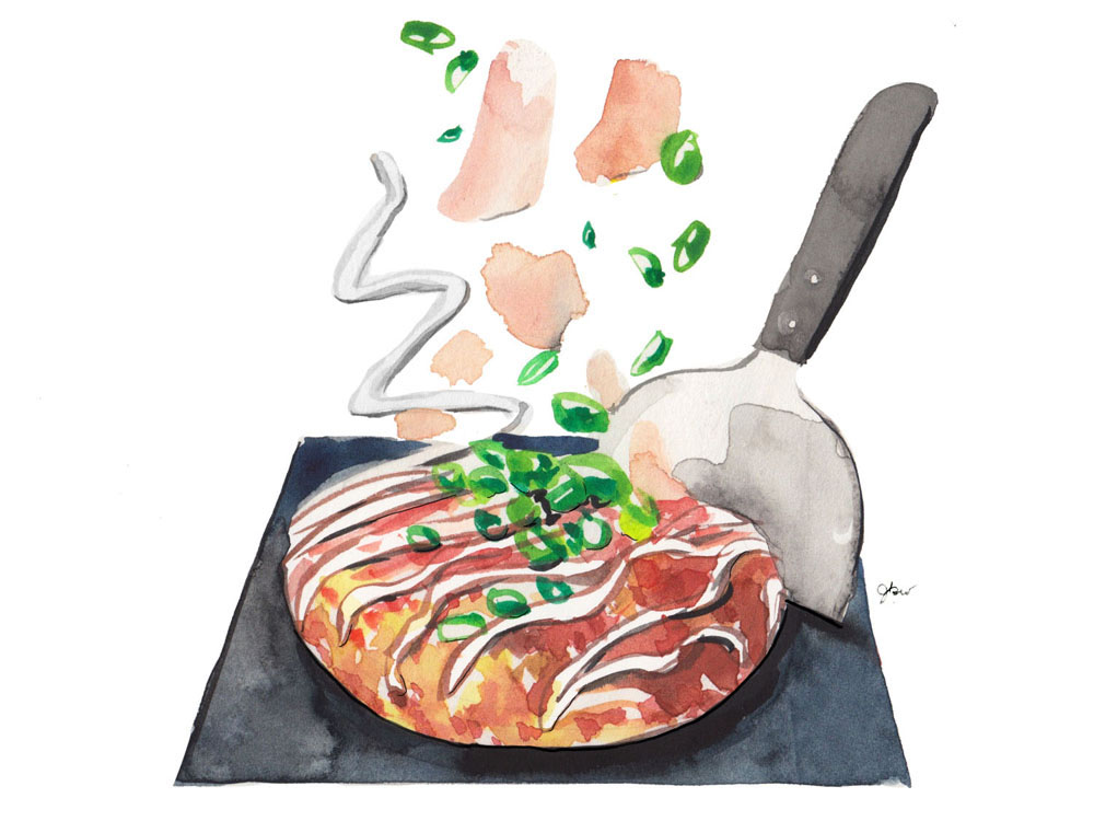 Illustration of okonomiyaki on a griddle, with toppings raining down on it